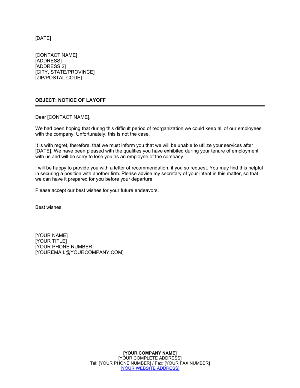 Sample Layoff Letter To Employee from templates.business-in-a-box.com