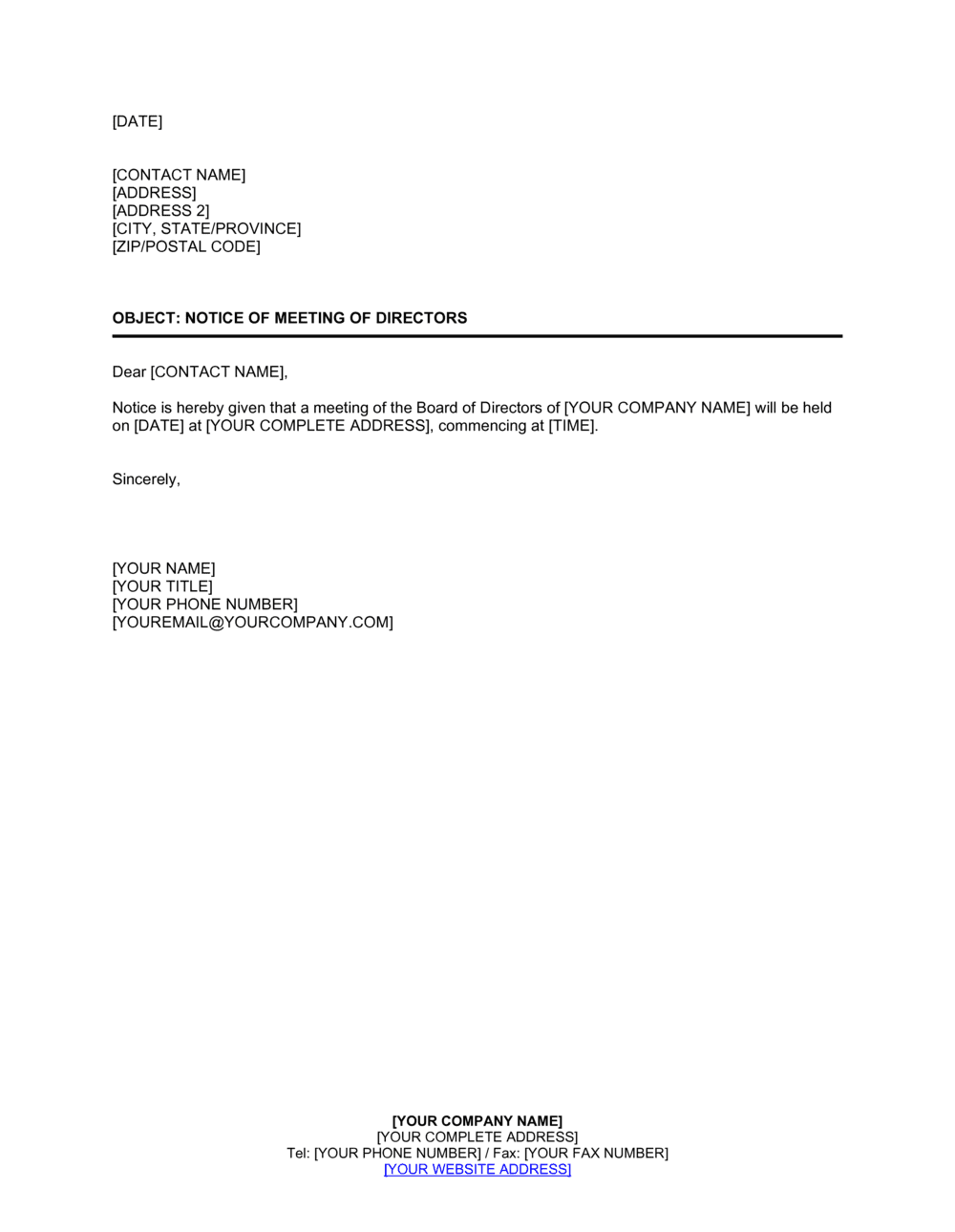 Business-in-a-Box's Notice of Meeting of Directors Template