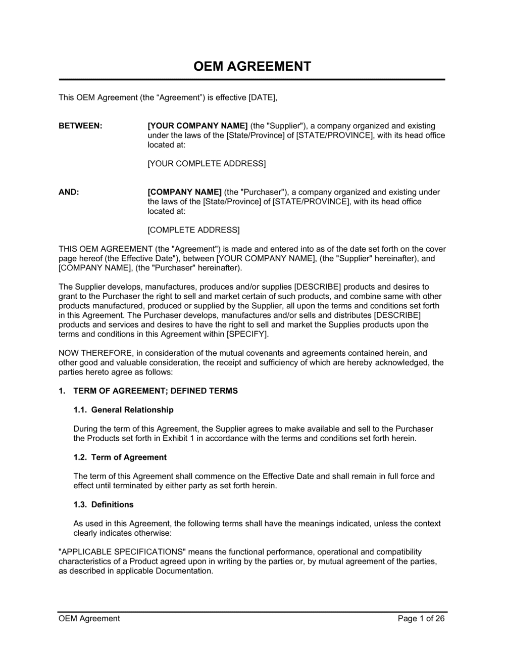 Business-in-a-Box's Oem Agreement Template