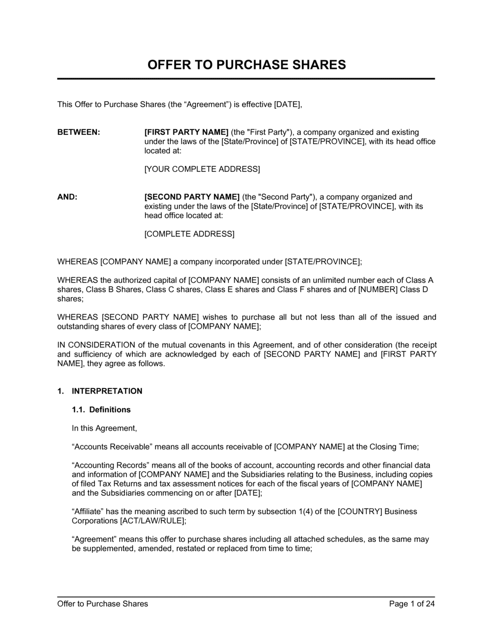 Business-in-a-Box's Offer to Purchase Shares Agreement Venture Capital Template