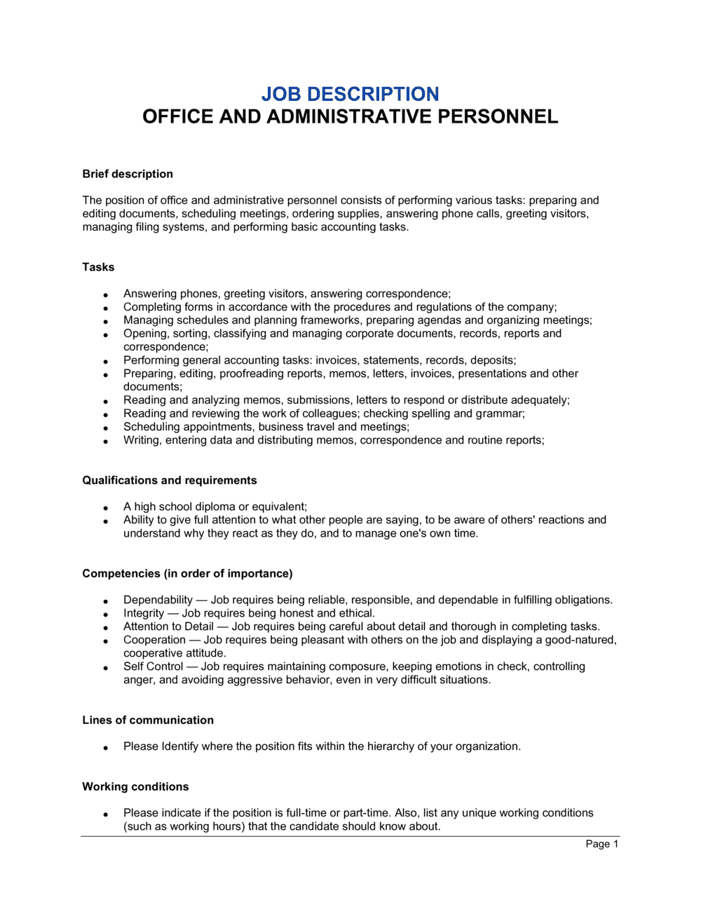 Business-in-a-Box's Office and Administrative Personel Job Description Template