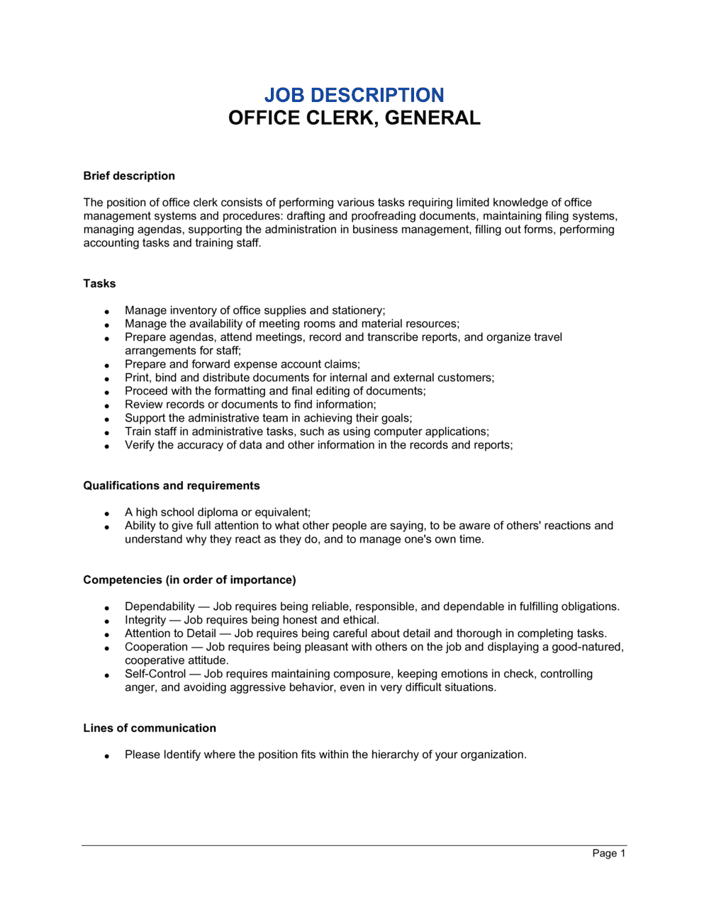 Business-in-a-Box's Office Clerk_General Job Description Template