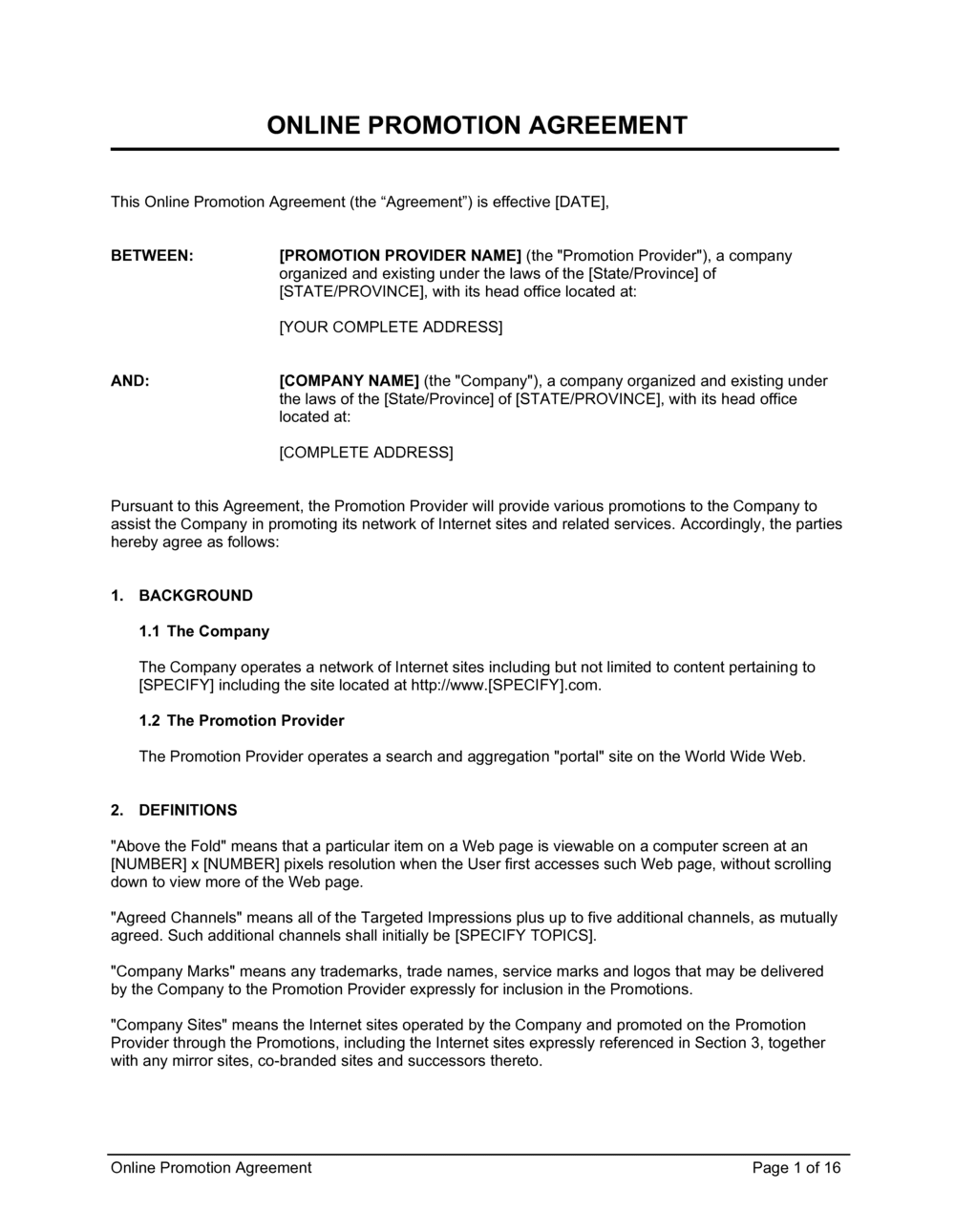 Business-in-a-Box's Online Promotion Agreement Template