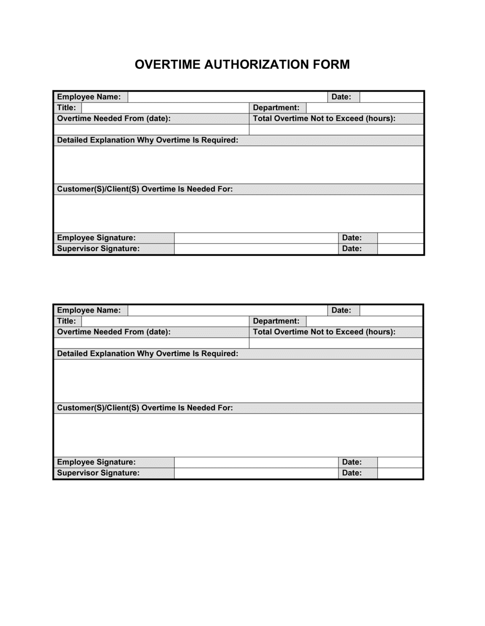 Business-in-a-Box's Overtime Authorization Form Template