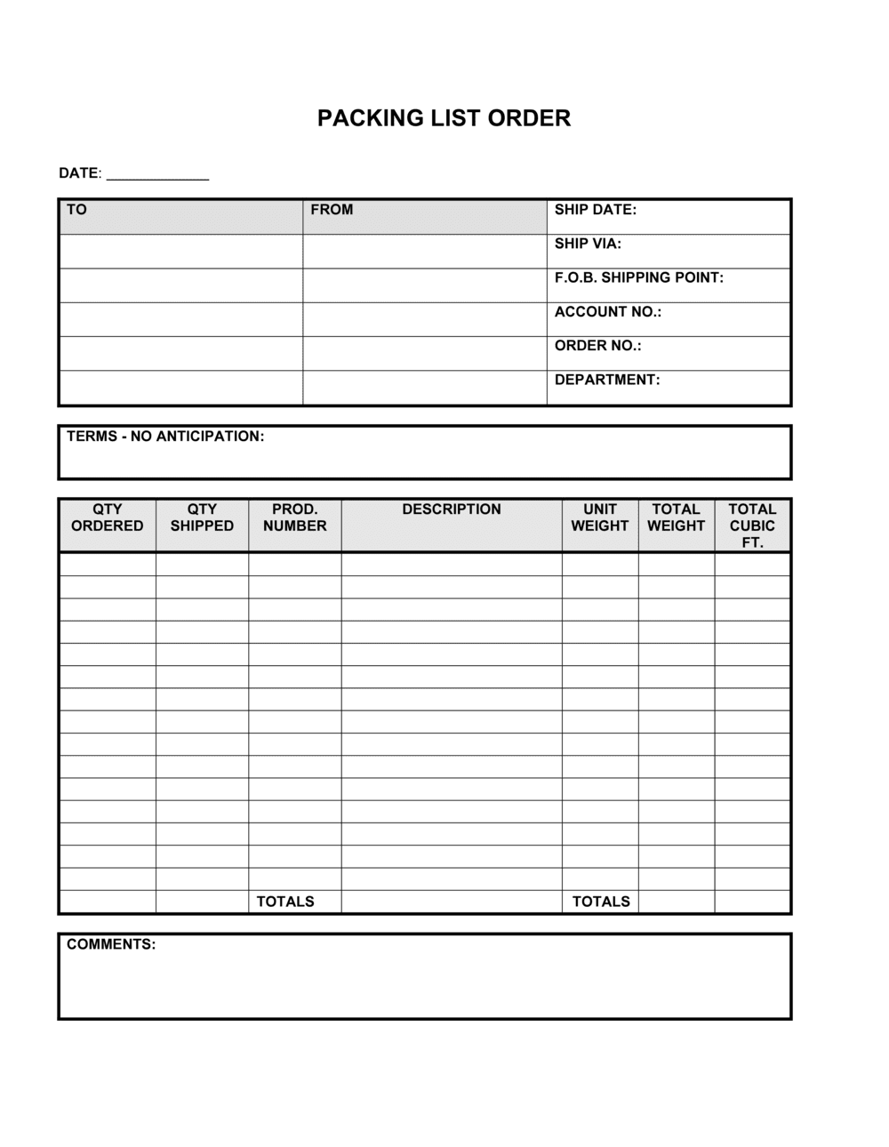 Business-in-a-Box's Packing List of Order Template