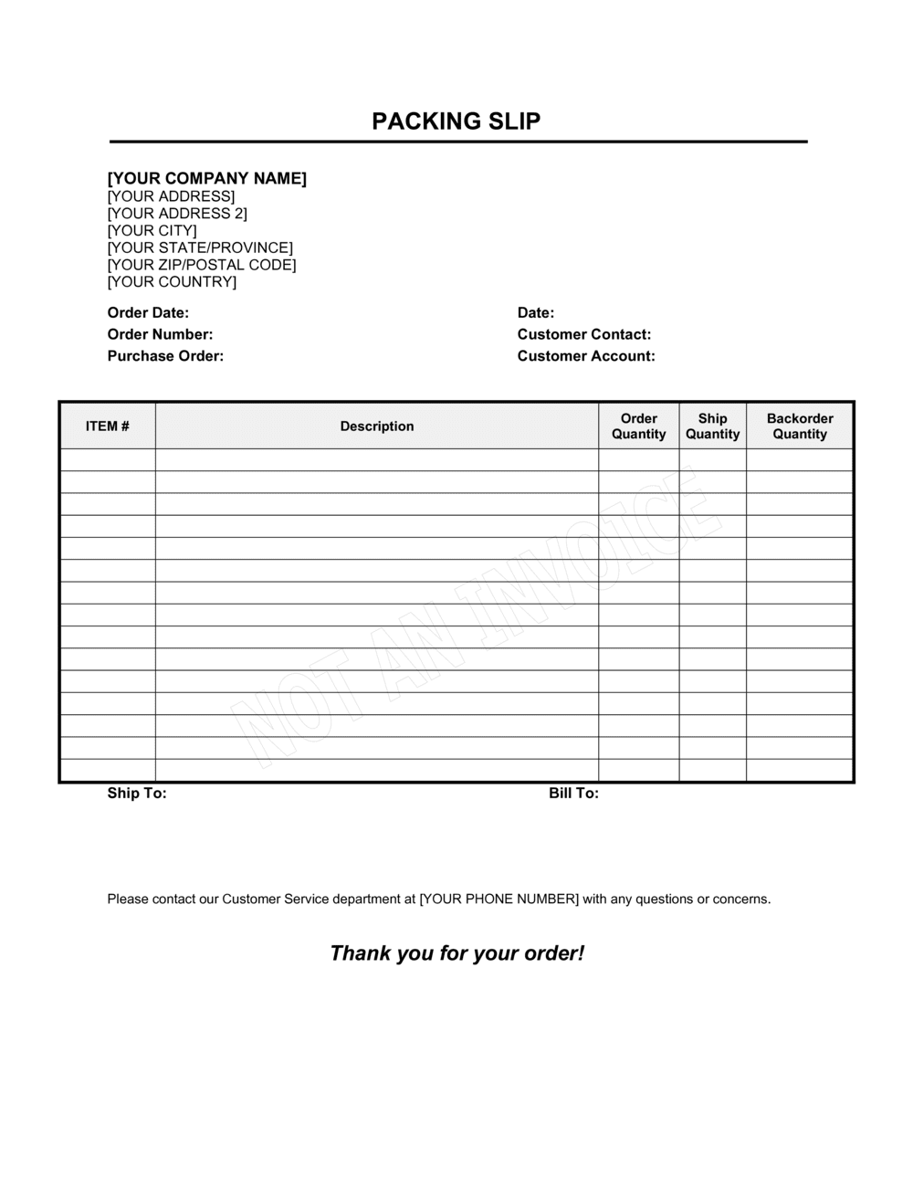 Business-in-a-Box's Packing Slip Template