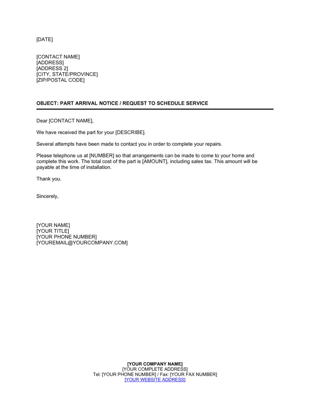 Business-in-a-Box's Part Arrival Notice With Request to Schedule Service Template