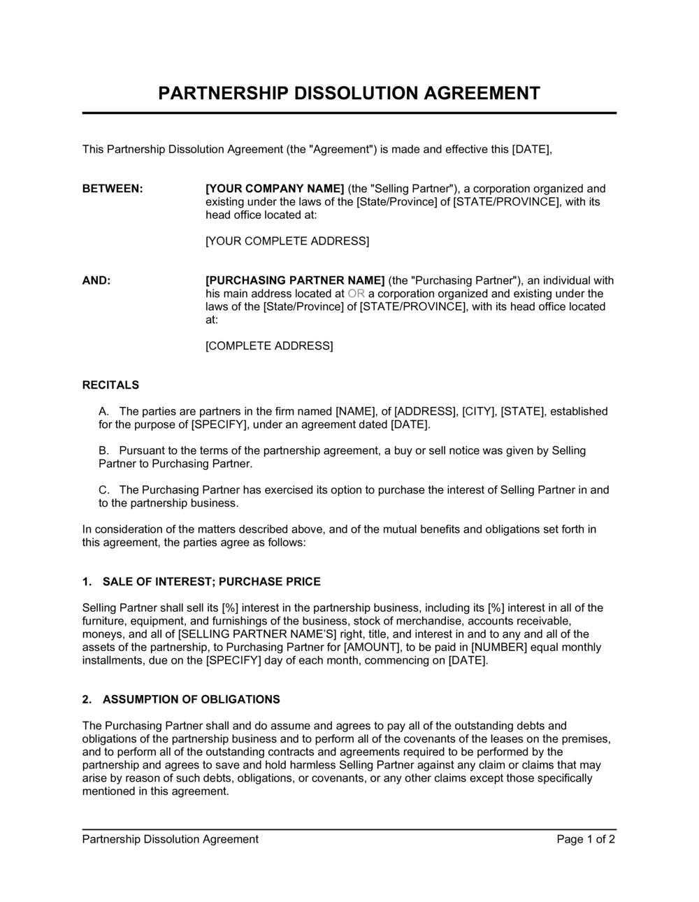 Business-in-a-Box's Partnership Dissolution Agreement Template