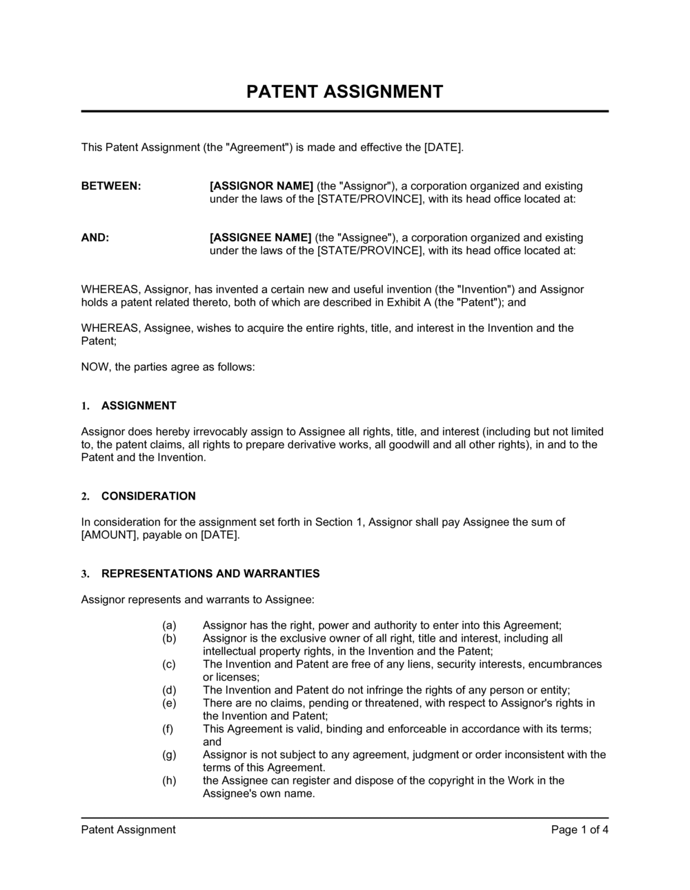 Business-in-a-Box's Patent Assignment Template