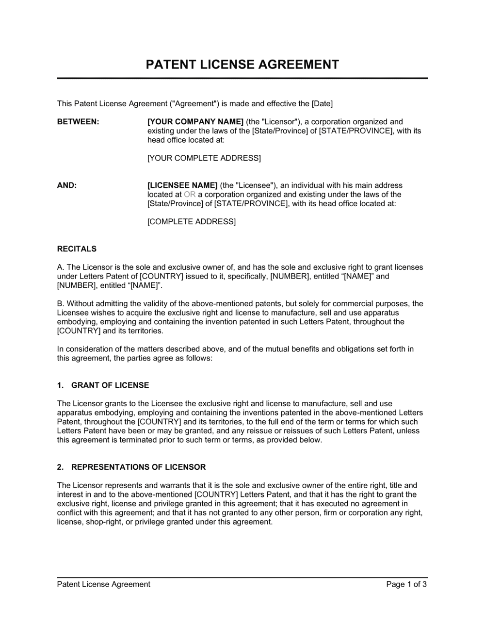 Business-in-a-Box's Patent License Agreement Template