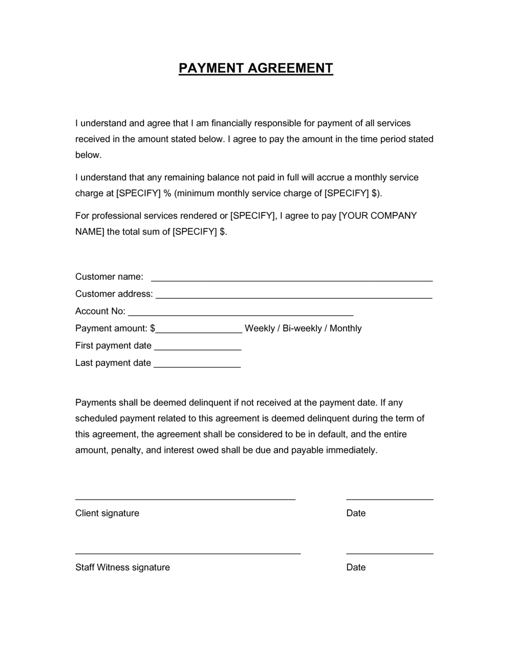 Business-in-a-Box's Payment Agreement Template