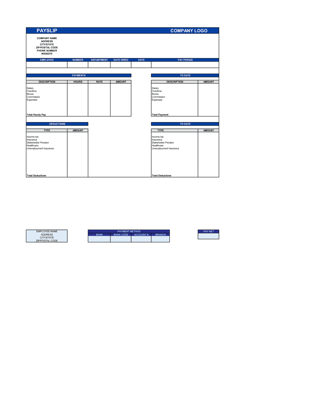 Payslip Worksheet Template By Business In A Box