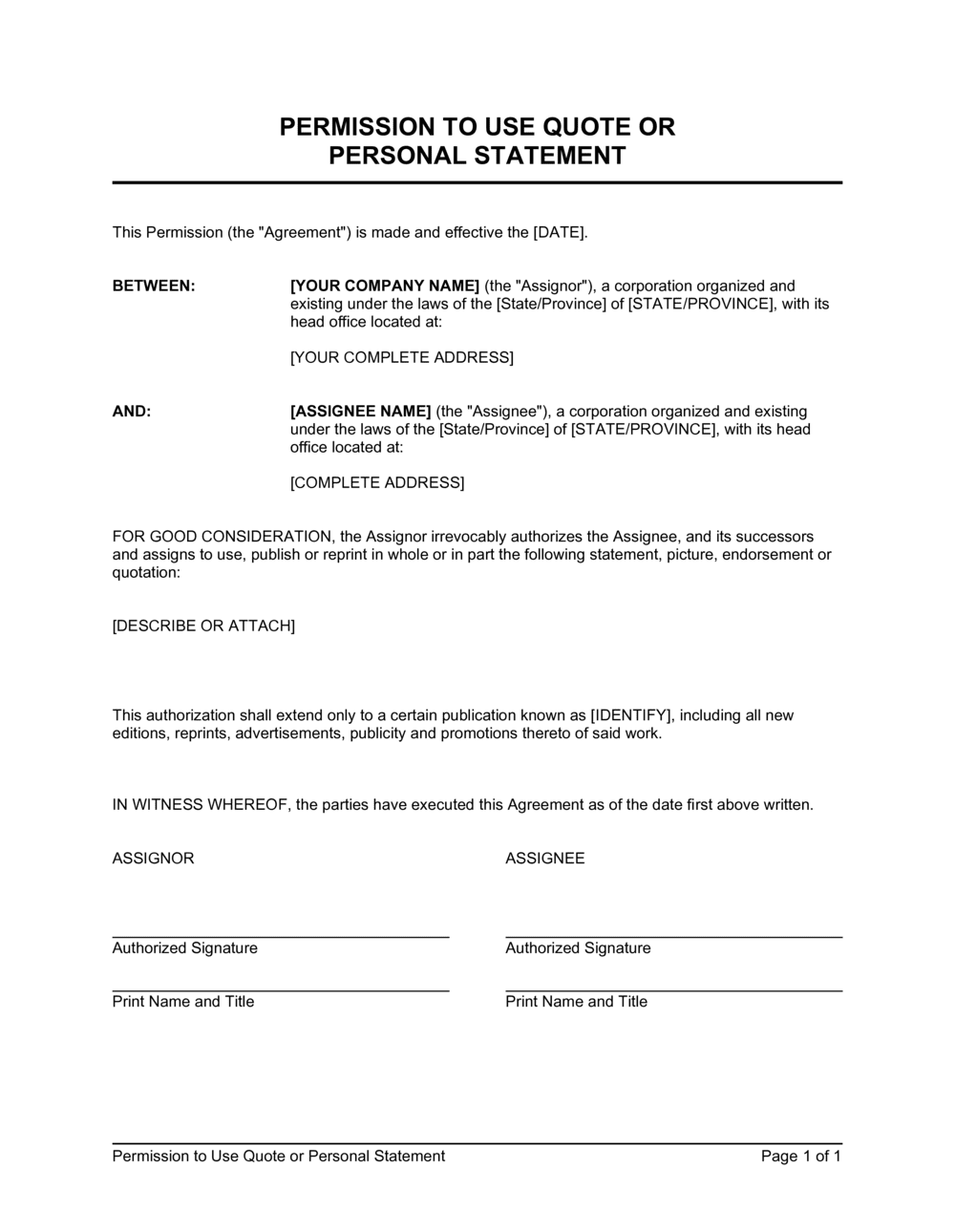 Business-in-a-Box's Permission to Use Quote or Personal Statement Template