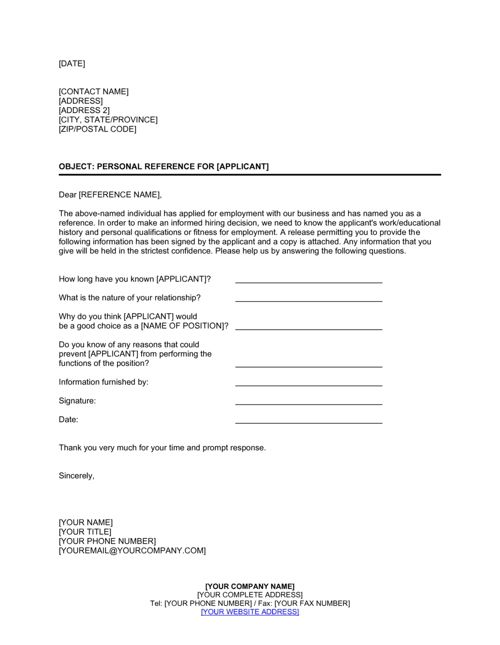 Business-in-a-Box's Personal Reference Check Letter Template
