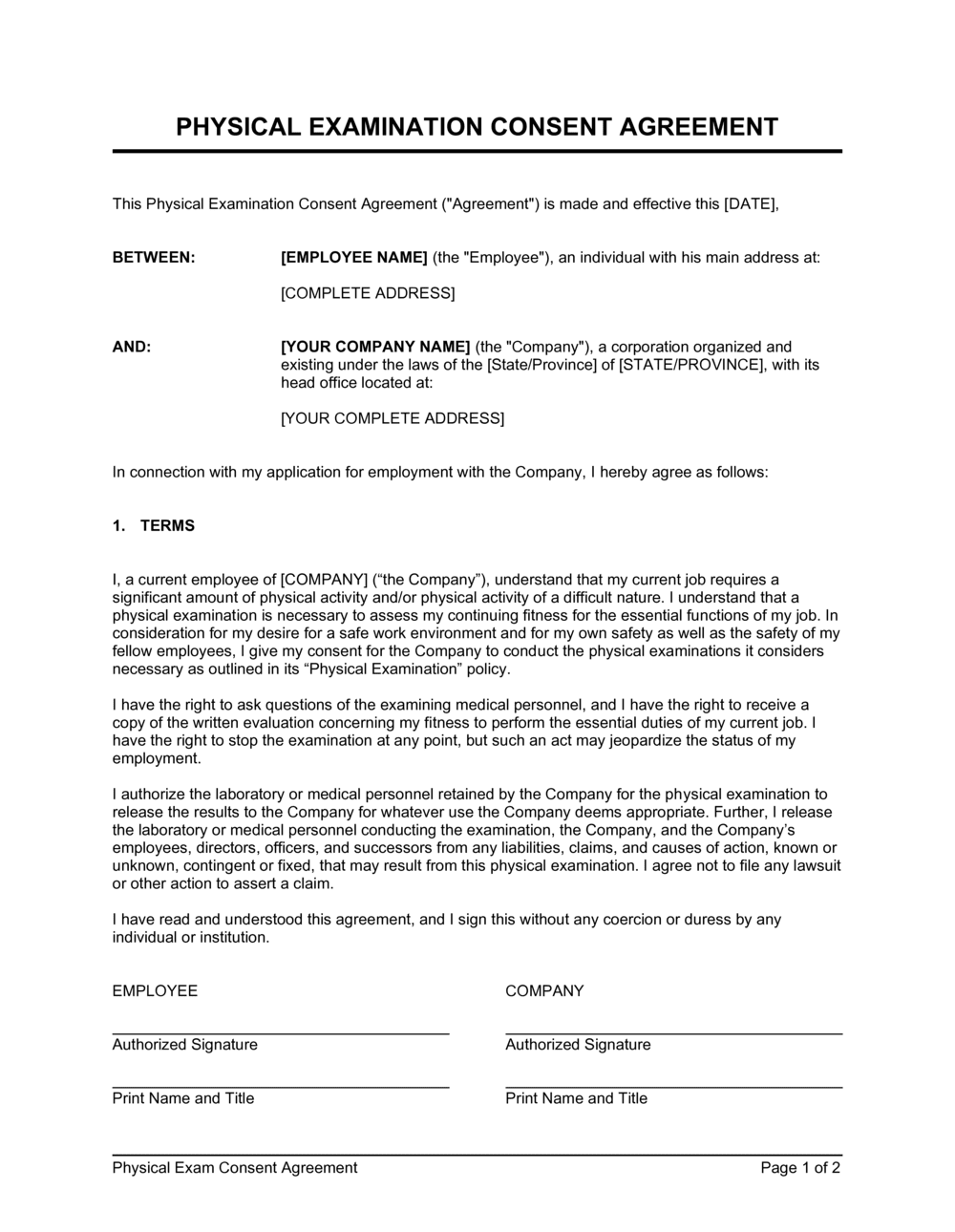Business-in-a-Box's Physical Exam Consent Template