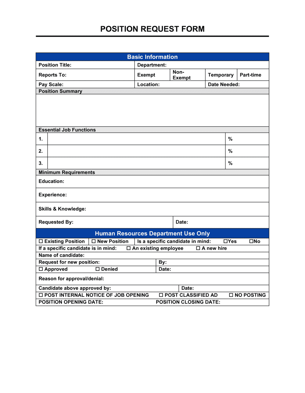 Business-in-a-Box's Position Request Form Template
