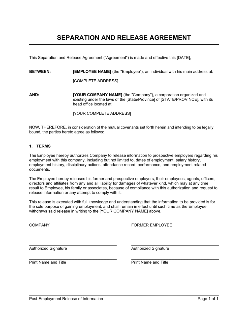 Business-in-a-Box's Post-Employment Information Release Agreement Template