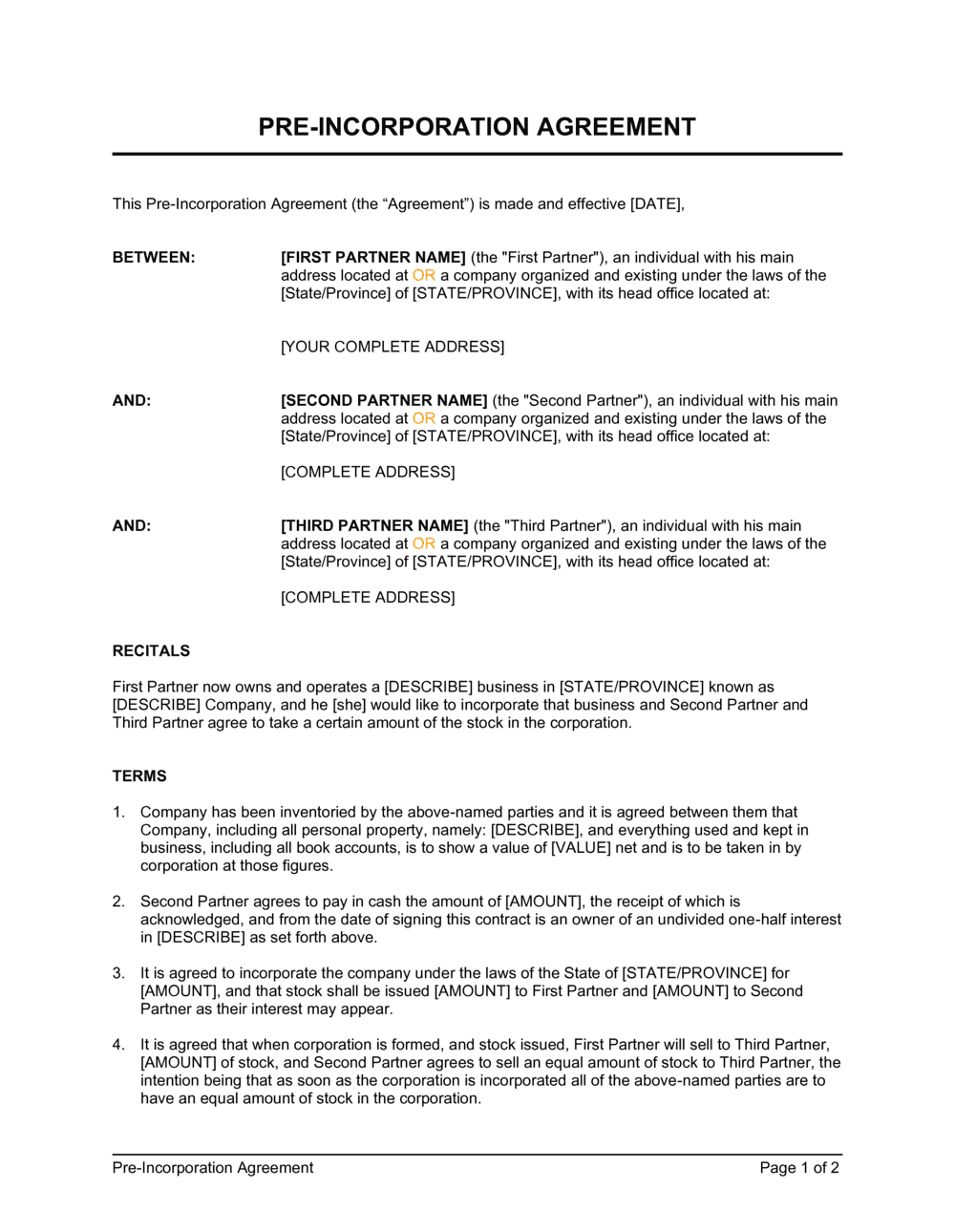Business-in-a-Box's Pre-Incorporation Agreement Template