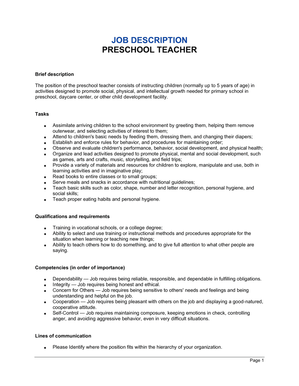Business-in-a-Box's Preschool Teacher Job Description Template