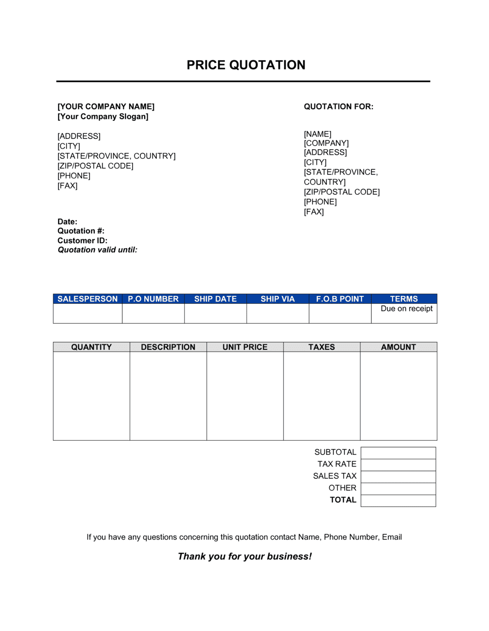 Business-in-a-Box's Price Quotation Template