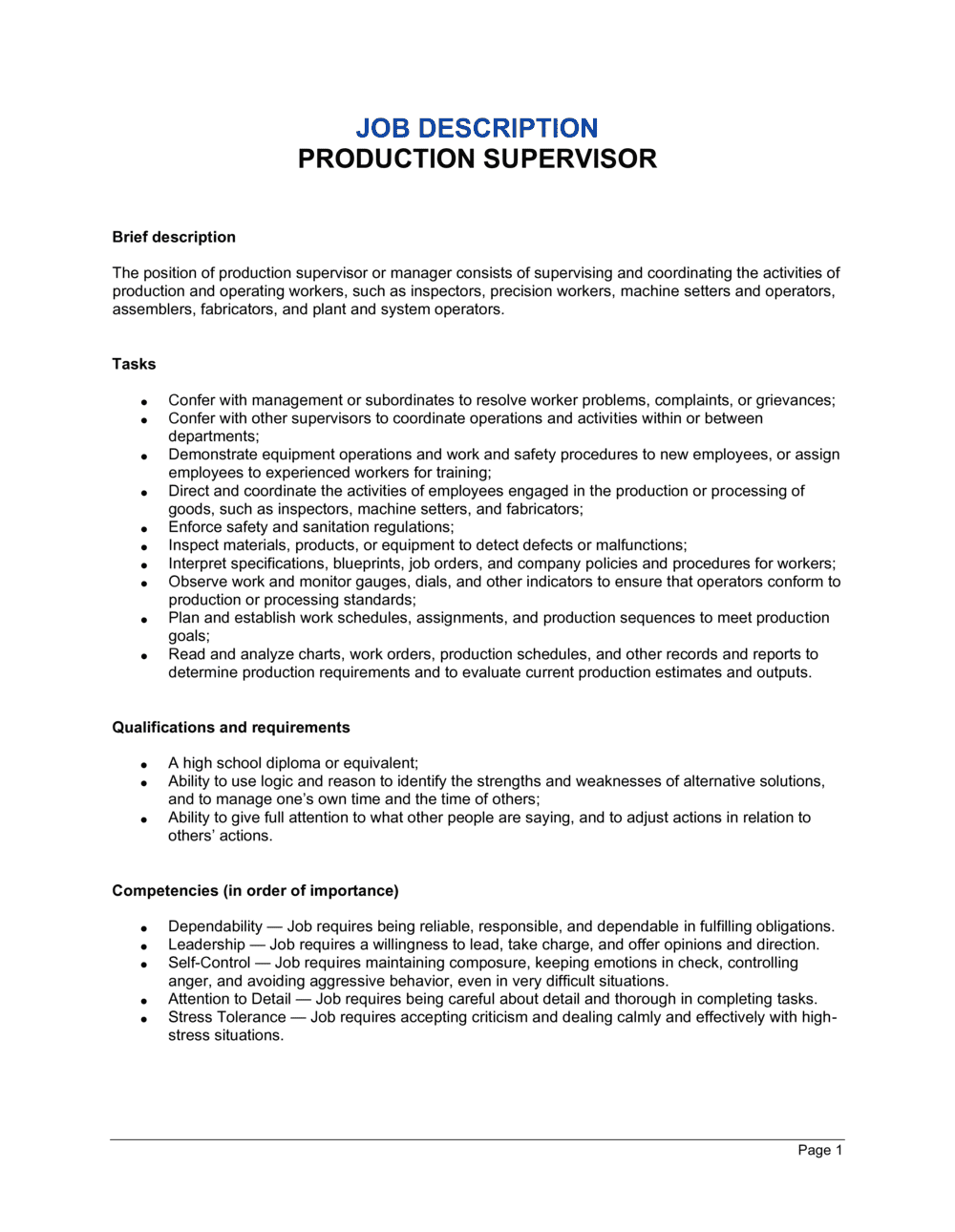 Business-in-a-Box's Production Supervisor Job Description Template