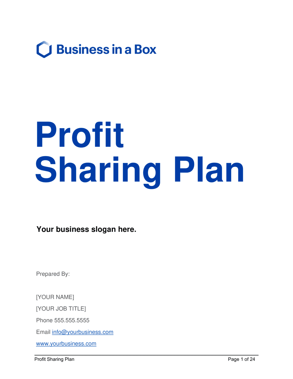 Business-in-a-Box's Profit Sharing Plan Template