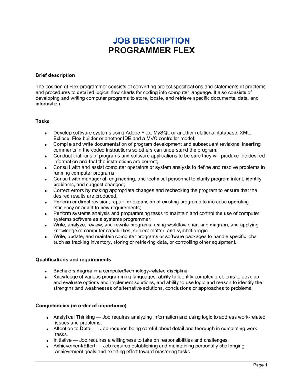Business-in-a-Box's Programmer Flex Job Description Template