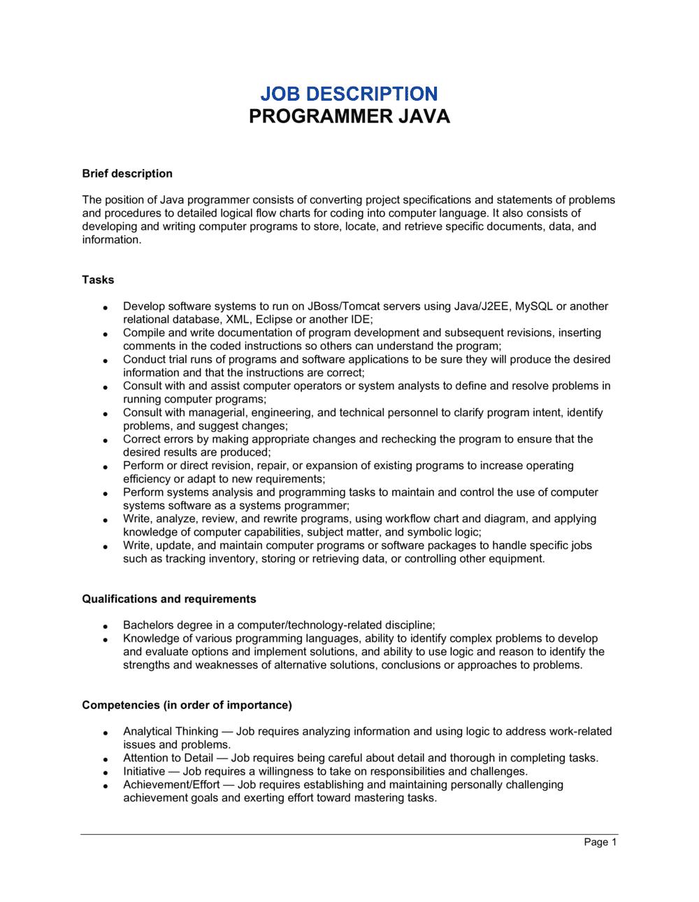 Business-in-a-Box's Programmer Java Job Description Template