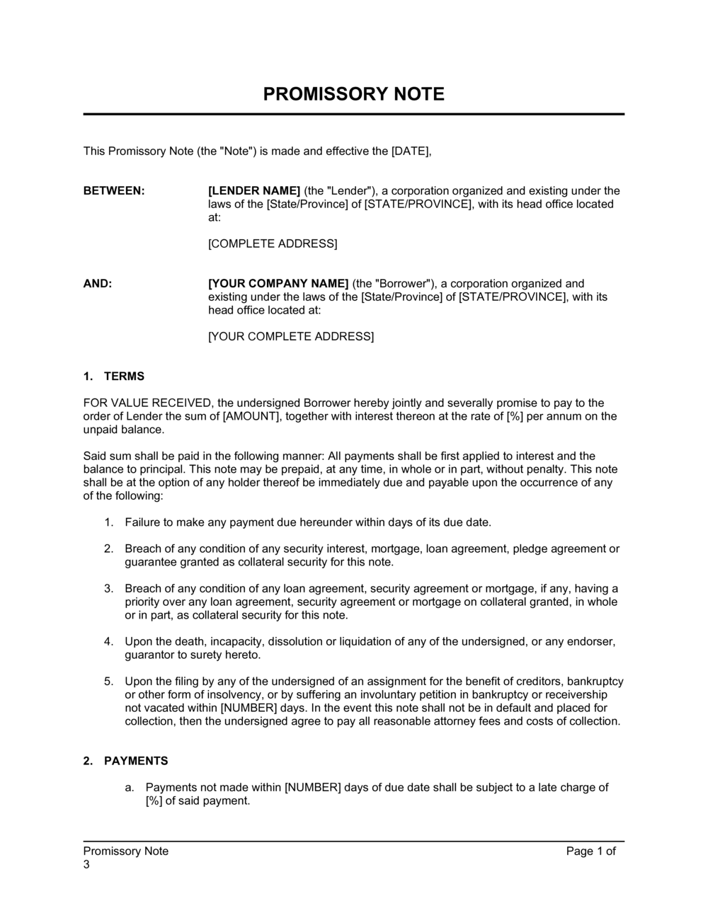 Business-in-a-Box's Promissory Note With Acknowledgment Template