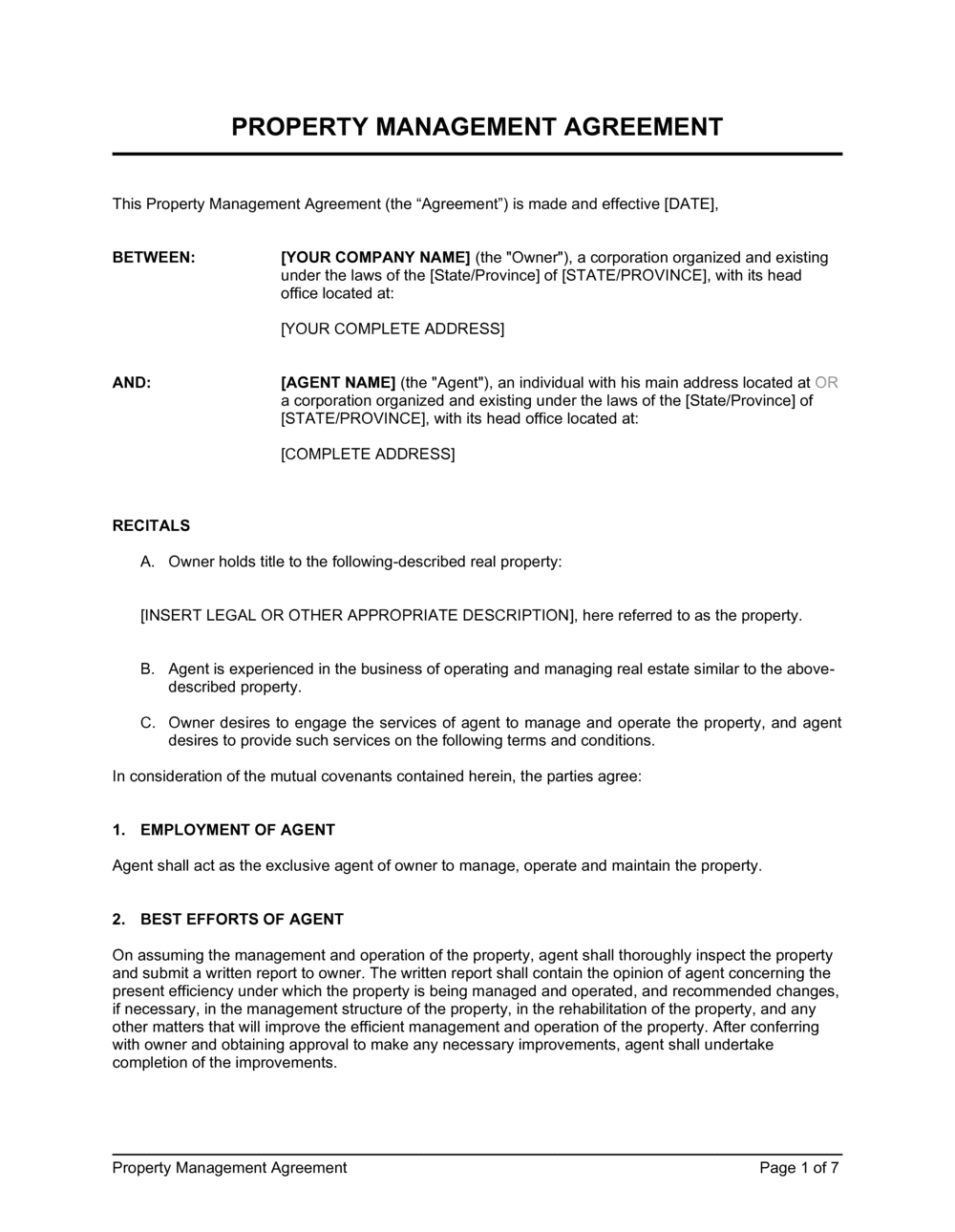 Business-in-a-Box's Property Management Agreement Template