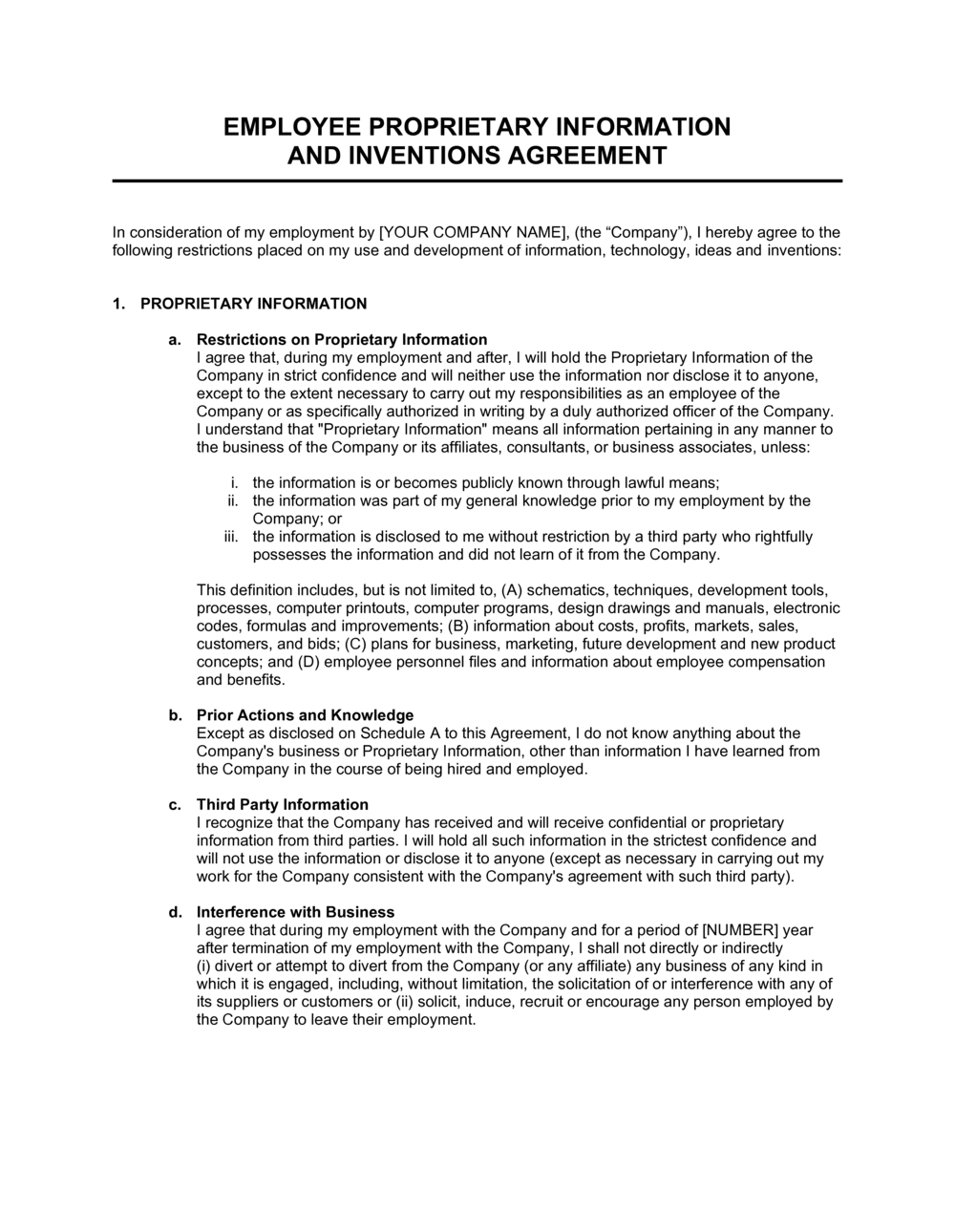 Business-in-a-Box's Proprietary Information and Inventions Agreement Template