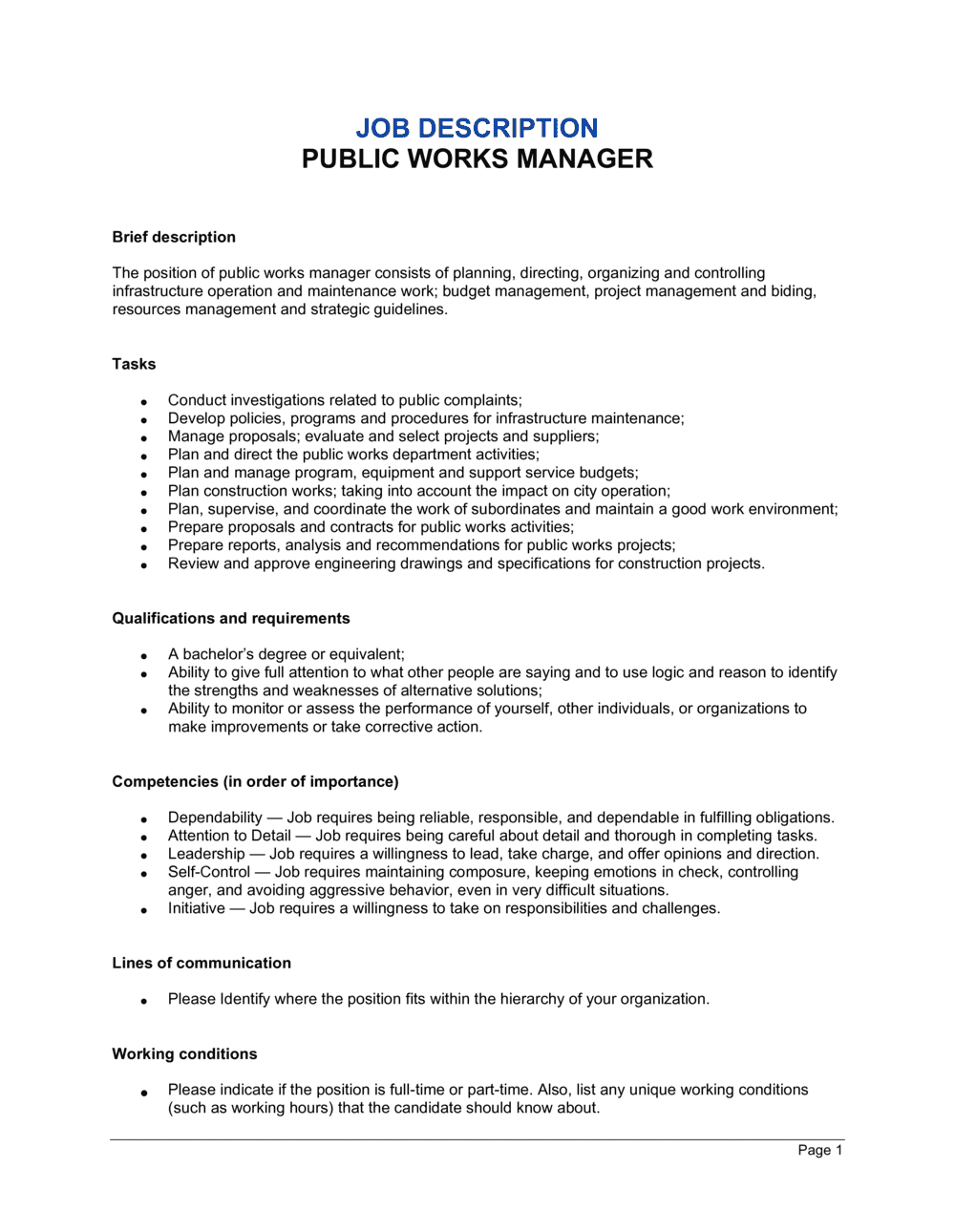 Business-in-a-Box's Public Works Manager Job Description Template