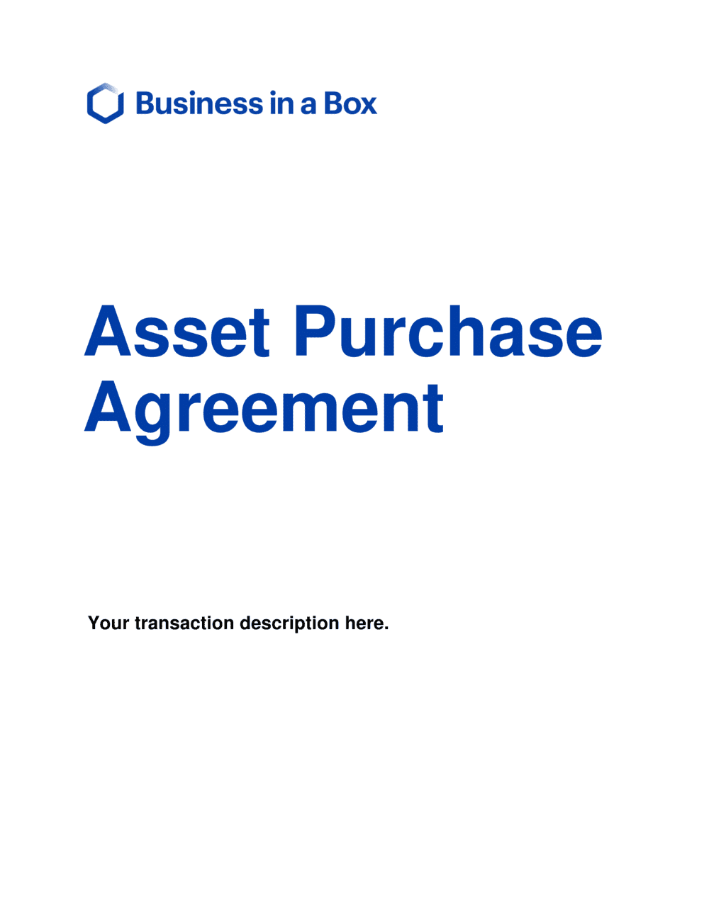Business-in-a-Box's Purchase Agreement Short Version Template