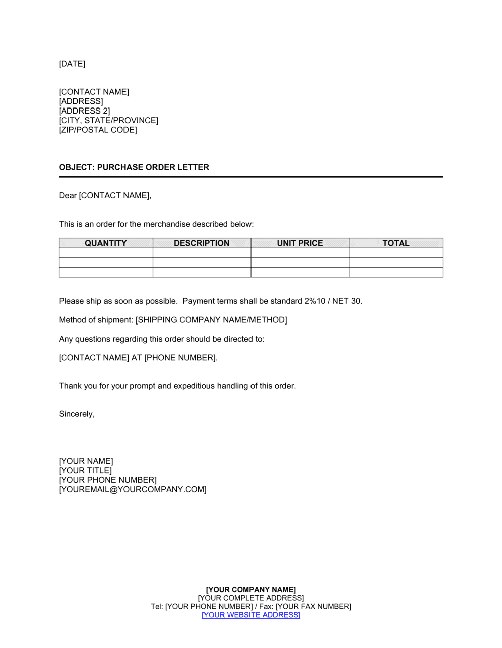 Standard Professional Letter Format from templates.business-in-a-box.com