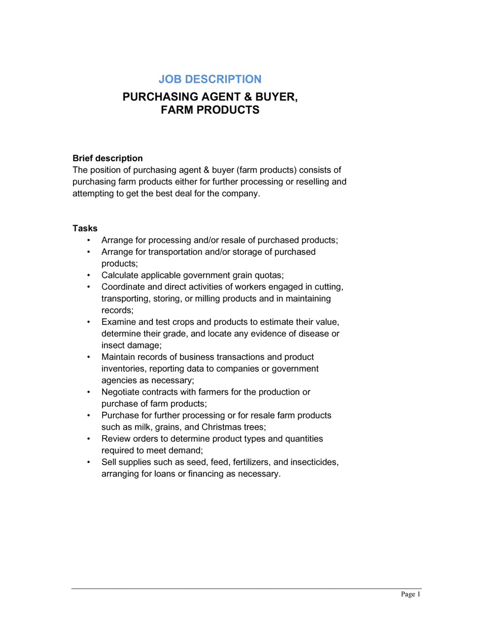 Business-in-a-Box's Purchasing Agent & Buyer Farm Products Job Description Template
