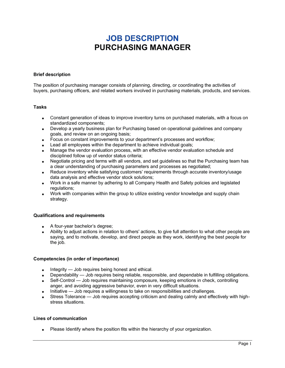 Business-in-a-Box's Purchasing Manager Job Description Template