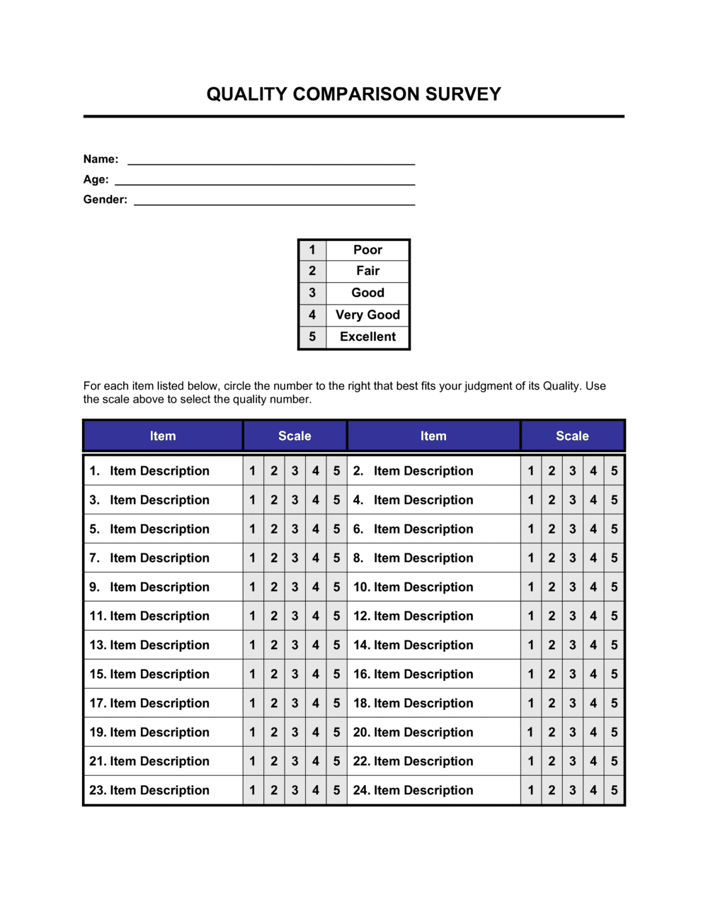 Business-in-a-Box's Quality Comparison Survey Template