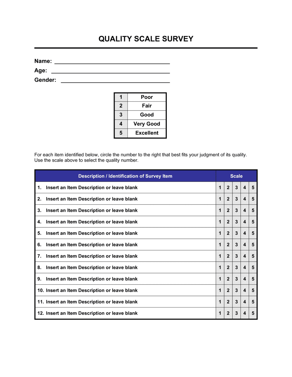 Business-in-a-Box's Quality Scale Survey Template