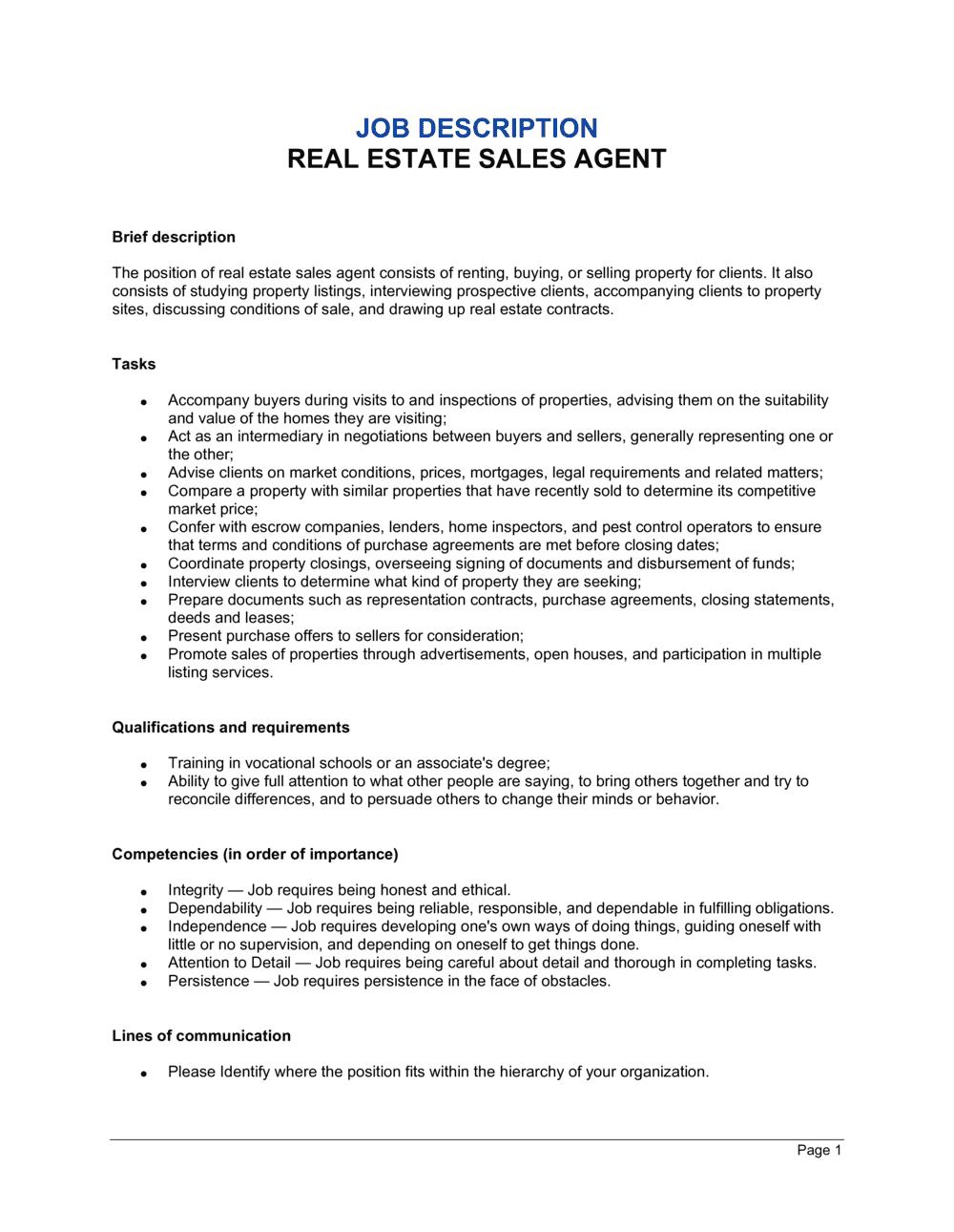 Business-in-a-Box's Real Estate Sales Agent Job Description Template