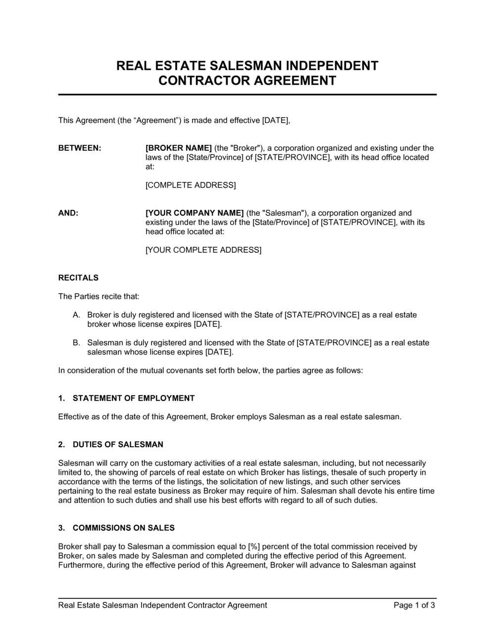 Business-in-a-Box's Real Estate Salesman Independent Contractor Agreement Template