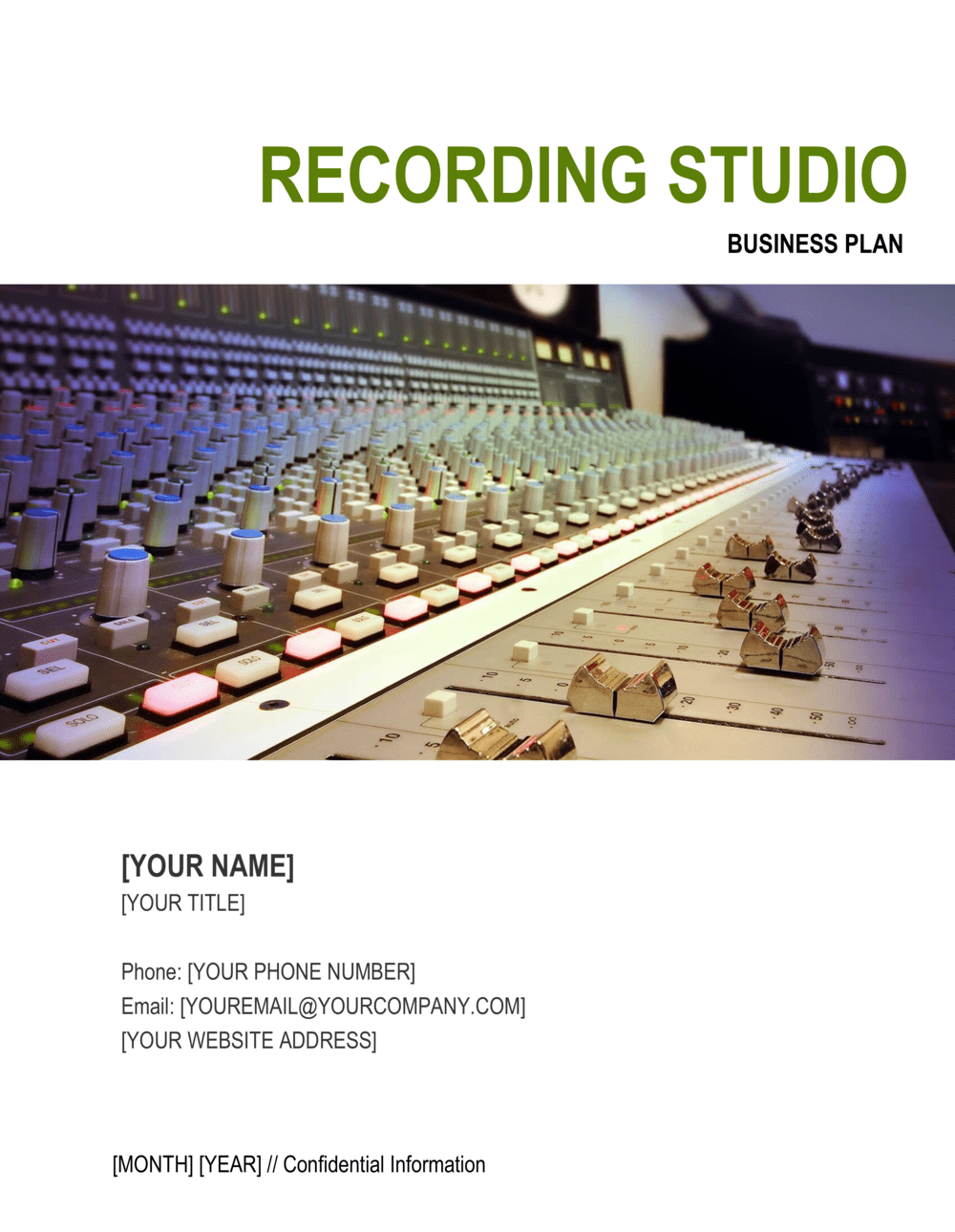 Business-in-a-Box's Recording Studio Business Plan Template