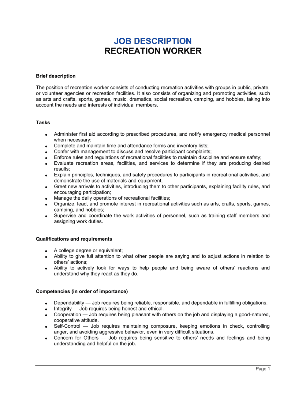 Business-in-a-Box's Recreation Worker Job Description Template