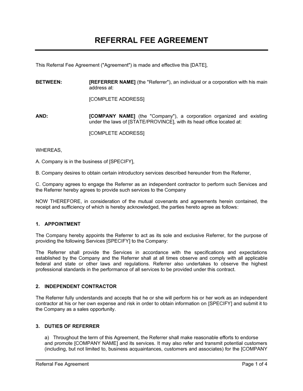 Business-in-a-Box's Referral Fee Agreement Template