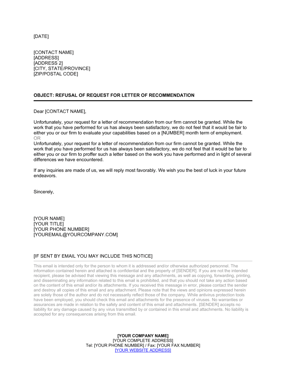 Business-in-a-Box's Refusal of Request for Letter of Recommendation Template