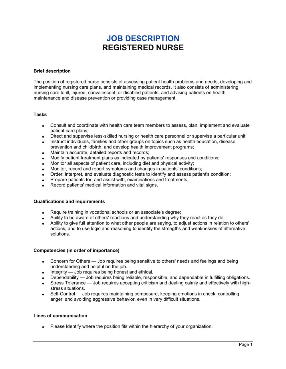 Business-in-a-Box's Registered Nurse Job Description Template