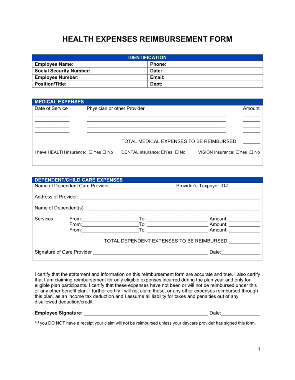 Reimbursement Form Medical Expenses Template By Business In A Box