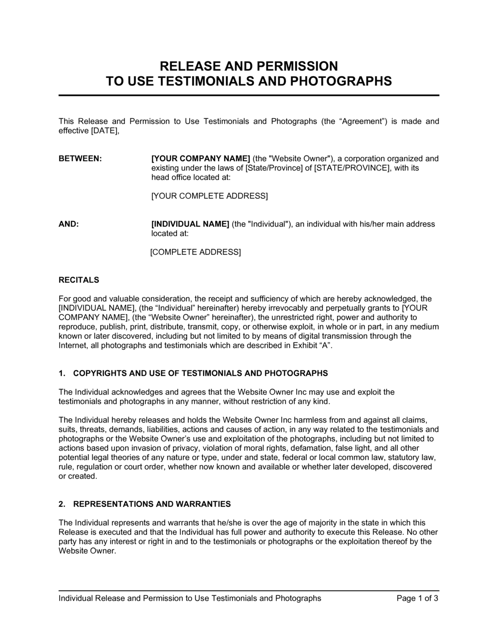 Business-in-a-Box's Release and Permission to Use Testimonial and Photographs Template