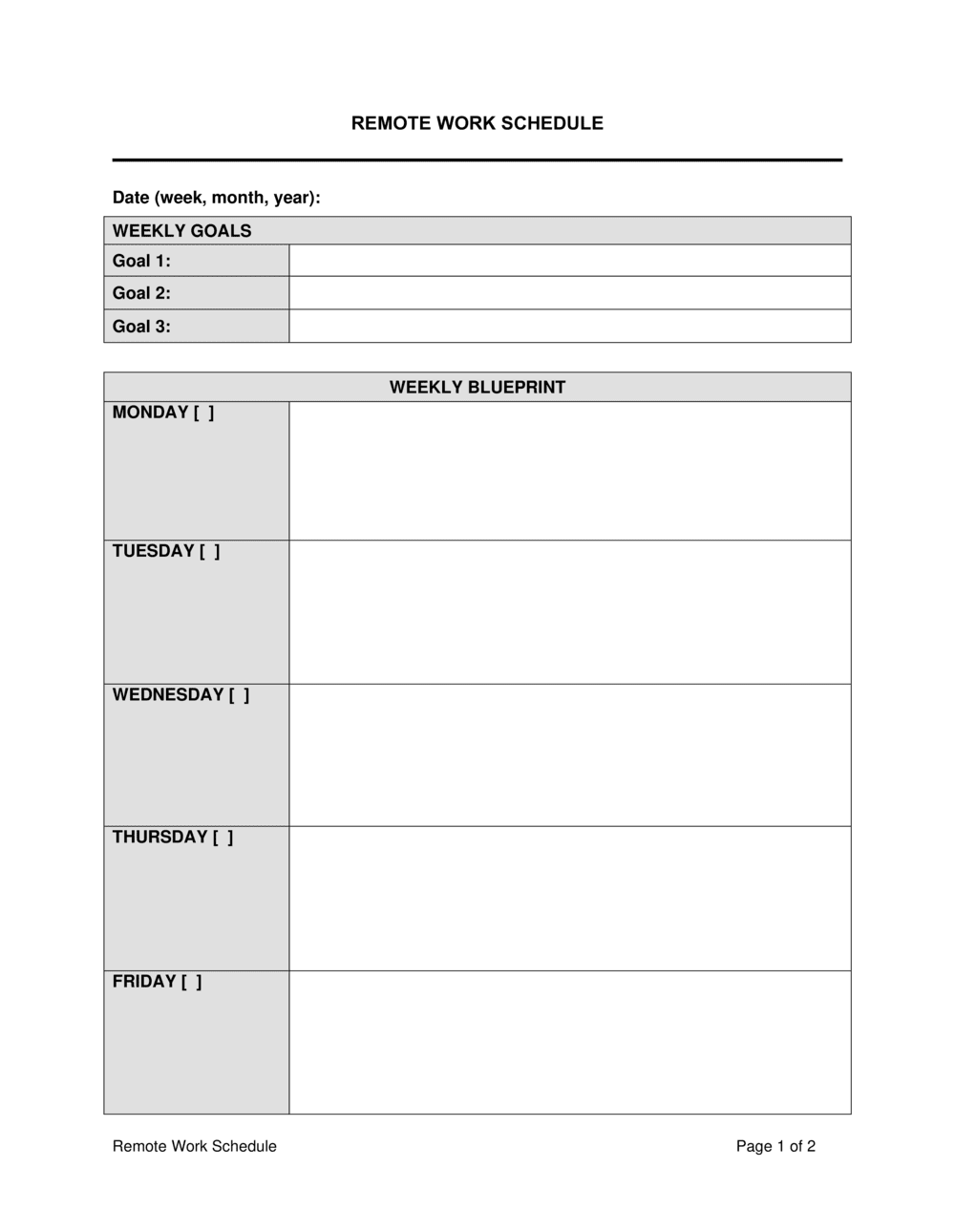 Business-in-a-Box's Remote Work Schedule Template