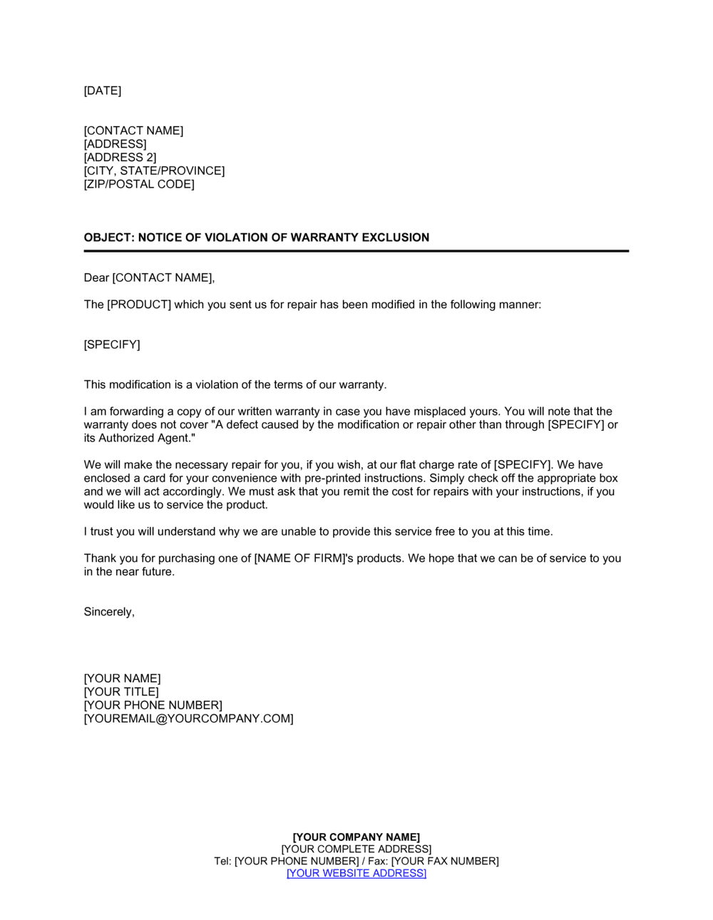 Business-in-a-Box's Reply Notice of Violation of Warranty Exclusion Template