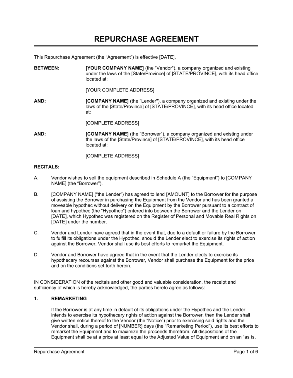 Business-in-a-Box's Repurchase Agreement Equipment Template